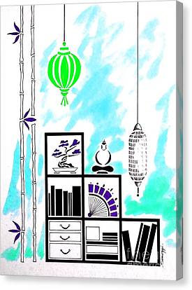 Lamps, Books, Bamboo -- Turquoise Canvas Print by Jayne Somogy