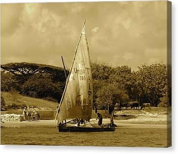 Exploramum Canvas Print - Lamu Island - Taifa - Wooden Fishing Dhows Off Lamu Island - Antique by Exploramum Exploramum