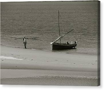 Lamu Island - Wooden Fishing Dhow Getting Unloaded - Black And White Canvas Print by Exploramum Exploramum