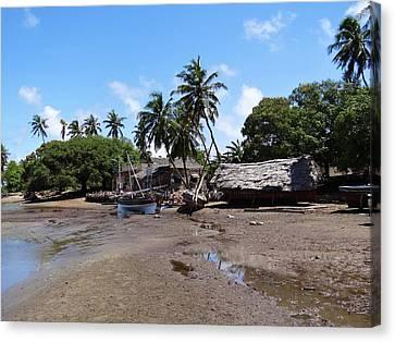 Exploramum Canvas Print - Lamu Island - Wooden Fishing Dhows And Village At Rear 1 by Exploramum Exploramum