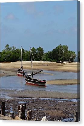 Exploramum Canvas Print - Lamu Island - Wooden Fishing Dhows At Low Tide With Pier - Colour by Exploramum Exploramum