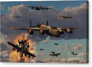 Lancaster Heavy Bombers Of The Royal Canvas Print by Mark Stevenson
