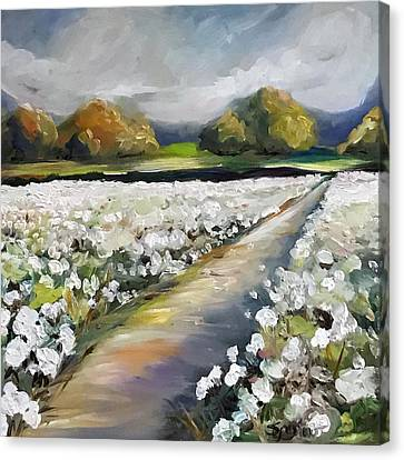 Cotton Farm Canvas Print - Land Of Cotton by Mary Sparrow