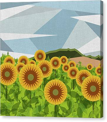 Colorful Sky Canvas Print - Land Of Sunflowers. by Absentis Designs
