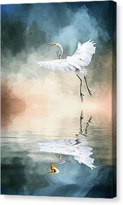 Landing At Dawn Canvas Print by Cyndy Doty