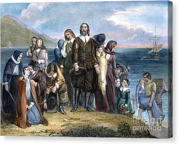 Landing Of Pilgrims, 1620 Canvas Print by Granger