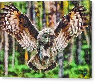 Grey Canvas Print - Landing Owl - Da by Leonardo Digenio