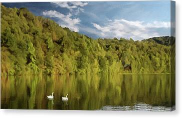 Canvas Print featuring the photograph Landingville Lake Pennsylvania by David Dehner