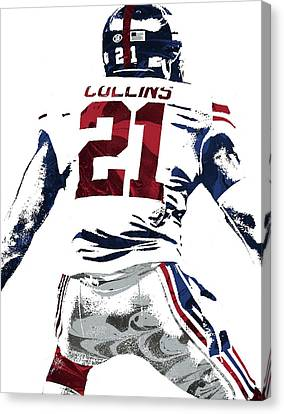 Canvas Print featuring the mixed media Landon Collins New York Giants Pixel Art 1 by Joe Hamilton