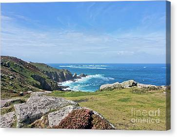 Land's End And Longships Lighthouse Cornwall Canvas Print by Terri Waters