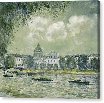 Landscape Along The Seine With The Institut De France And The Pont Des Arts Canvas Print by Alfred Sisley