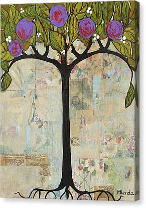 Landscape Art Tree Painting Past Visions Canvas Print by Blenda Studio