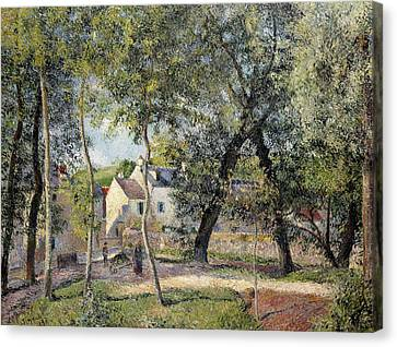 Landscape At Osny Near The Drinking Trough Canvas Print by Camille Pissarro