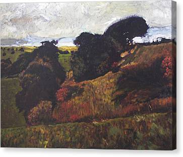 Canvas Print featuring the painting Landscape At Rhug by Harry Robertson