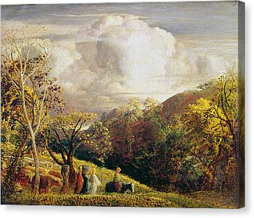 Landscape Figures And Cattle Canvas Print by Samuel Palmer