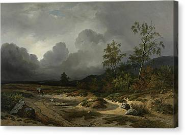 Landscape In An Approaching Storm Canvas Print by Willem Roelofs