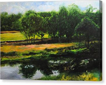Canvas Print featuring the painting Landscape In North Wales by Harry Robertson