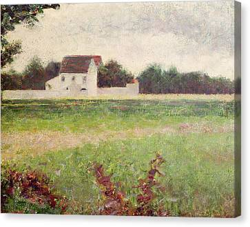 Landscape In The Ile De France Canvas Print by Georges Pierre Seurat