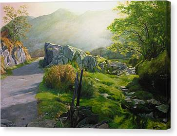 Canvas Print featuring the painting Landscape In Wales by Harry Robertson