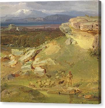 Landscape Near Corinth Canvas Print by Carl Rottmann