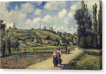 Country Road Canvas Print - Landscape Near Pontoise by Camille Pissarro