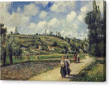 Landscape Near Pontoise The Auvers Road Canvas Print by Camille Pissarro