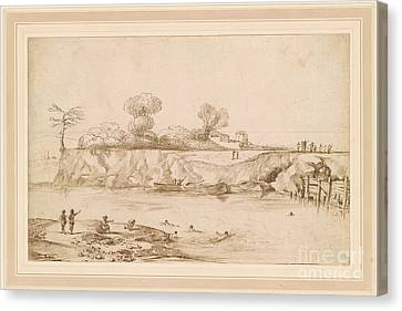 Landscape River With Bathers Canvas Print
