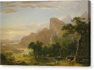 Mountain Goat Canvas Print - Landscape Scene From Thanatopsis by Asher Brown Durand