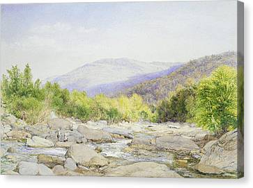 Seaside Heights Canvas Print - Landscape, View On Catskill Creek by John William Hill