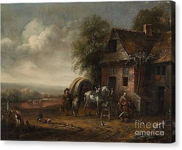 Landscape With A Farmhouse And Resting Travellers Canvas Print