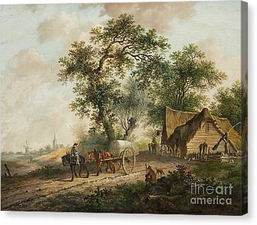 Horse And Cart Canvas Print - Landscape With A Horse And Cart by MotionAge Designs