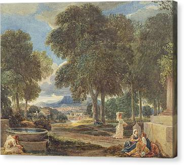 Landscape With Figure Canvas Print - Landscape With A Man Washing His Feet At A Fountain by David Cox