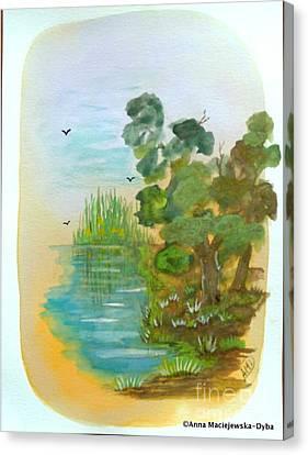 Landscape With A Pond Canvas Print by Anna Folkartanna Maciejewska-Dyba