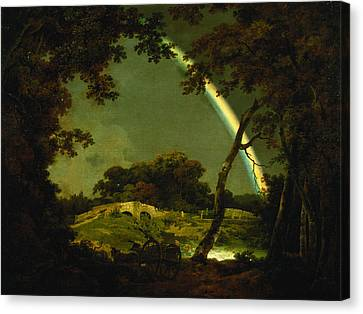 Horse And Cart Canvas Print - Landscape With A Rainbow by Joseph Wright of Derby