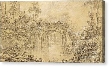 Rowboat Canvas Print - Landscape With A Rustic Bridge by Francois Boucher