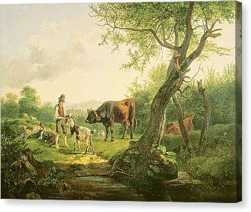 Landscape With Figure Canvas Print - Landscape With A Shepherd by Friedrich Gauermann