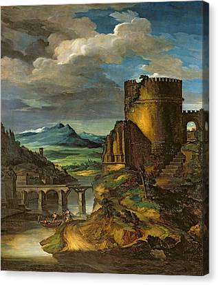 Landscape With A Tomb  Canvas Print by Theodore Gericault