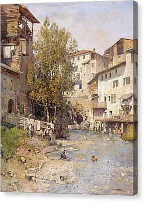 Landscape With A Village On The Outskirts Of Rome Canvas Print by Mariano Barbasan