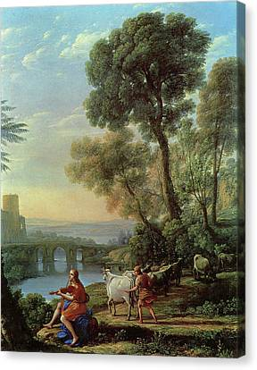 Landscape With Apollo And Mercury Canvas Print by Claude Lorrain