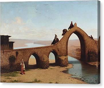 Cesare Canvas Print - Landscape With Bridge by Cesare Biseo