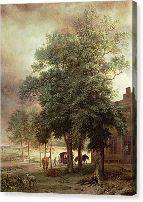 Landscape With Carriage Or House Beyond The Trees Canvas Print by Paulus Potter