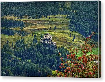 Canvas Print featuring the photograph Landscape With Castle by Hanny Heim