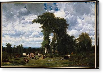 Landscape With Cattle At Limousin Canvas Print by MotionAge Designs