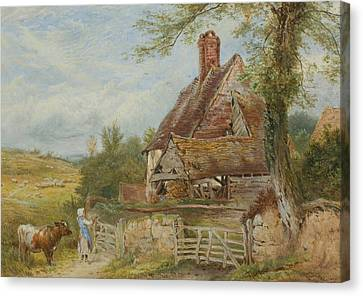 Landscape With Cottage, Girl And Cow Canvas Print by Myles Birket Foster