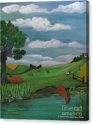 Landscape With Red Cows Canvas Print
