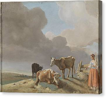 Landscape With Cows, Sheep And Shepherdess, Altered Copy Of A Painting By Paulus Potter, The Shepher Canvas Print