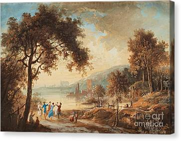 Sun Rays Canvas Print - Landscape With Dancing Figures by Celestial Images