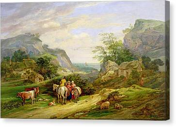 Landscape With Figures And Cattle Canvas Print by James Leakey