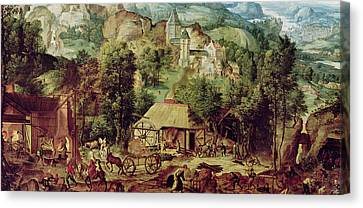 Horse And Cart Canvas Print - Landscape With Forge  by Herri met de Bles