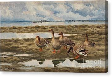 Landscape With Geese Canvas Print